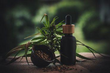 flacon d'huile de cbd, feuilles de cannabis et récipient rempli de graines de cannabis